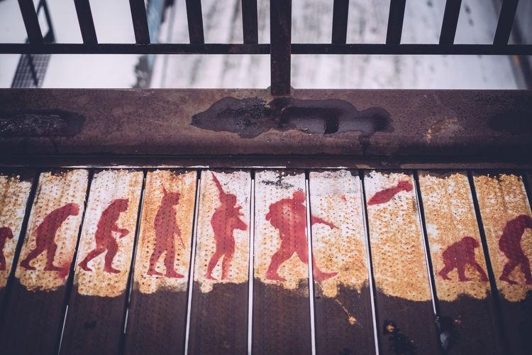 High angle view of art on bridge