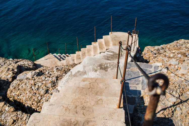 Hiking Nature Rock Formation Stairs Steps Traveling Adventure Blue Liguria Outdoors Punta Chiappa Rock - Object Sea Stone Water Waterfront