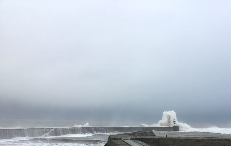 Seaham Harbour Seaham Seaham Harbour During A Storm Water Sky Day Motion Nature No People Scenics - Nature Beauty In Nature Cold Temperature Sea Power Outdoors Power In Nature Flowing Water Cloud - Sky