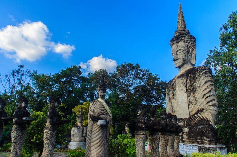 Sala Keoku, the park of giant fantastic concrete sculptures inspired by Buddhism and Hinduism. It is located in Nong Khai, Thailand NongKhai,ThaiLand Sala Kaeo Ku Sala Kau Ku Sala Keoku Architecture Art And Craft Building Exterior Built Structure Day Human Representation Idol Low Angle View Male Likeness No People Nong Khai Nongkhai Old Ruin Place Of Worship Religion Sala Kaewku Sculpture Sky Spirituality Statue Travel Destinations