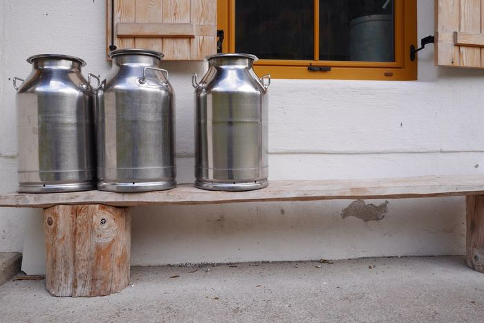all cows are gone...milk cans are still there.... Alps Milk Can Still Life