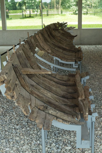 Ancient Roman Shipwreck in Cets-Romans-Museum in Manching (Bavaria, Germany) Absence Ancient Civilization Antique Day Diminishing Perspective Empty Excavation Exhibition Museum No People Roman Shipwreck Cove The Way Forward Vanishing Point Wood - Material