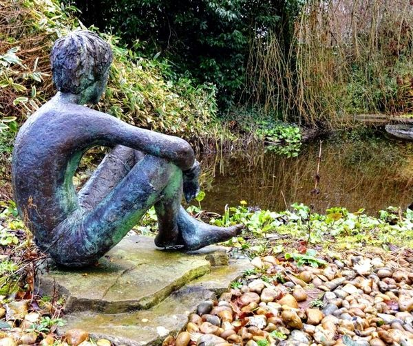 No People Outdoors Water Nature Statue Pond Art Contemplation. Soul Mirror Beauty In Ordinary Things Gardens English Gardens Filter Mobilephotography Green Tranquility