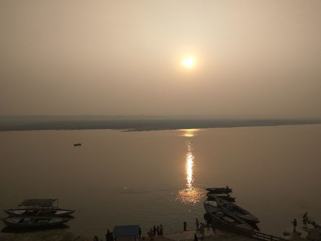 Some of the scenic views taken in Varanasi aka Banares India #varanasi Boats Old Architecture River River View Scenic View Sky And Clouds Sun