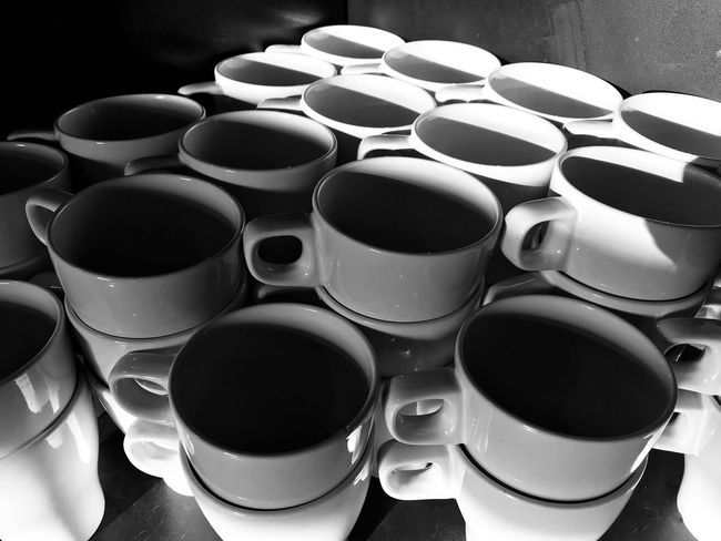 Coffee cups Iphonephotography Lighandshadows Blackandwhite Tea Coffee Blackandwhite High Angle View Coffee Cup Large Group Of Objects No People Indoors  Drink Day Close-up