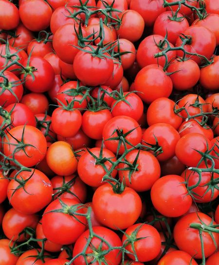 High angle view of tomatoes for sale at market