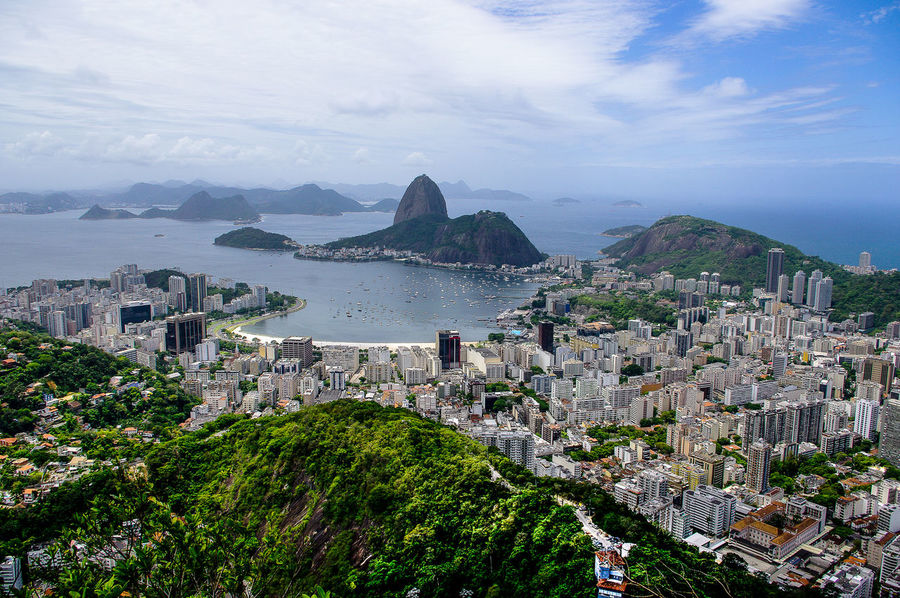 Sugarloaf Farsightedness Brazil Copacabana Famous Place High Angle View Hill Mountain Mountains Rio De Janeiro South America Sugarloaf Town Water