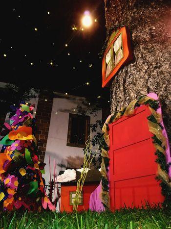 Imágenes que crean sueños.. Ayudante De Santa CasitaDelArbol Gnomo Navidad Christmas Decoration Night No People Outdoors Building Exterior Low Angle View Architecture Illuminated