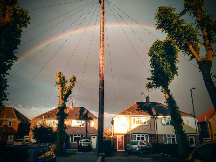 Tree Sky Outdoors No People Rainbow Rainbow🌈 Rainbow Colors Cars Houses Streetphoto Streetphotography Sky And Trees Nature Goole United Kingdom Street RainAndSun Beauty In Nature