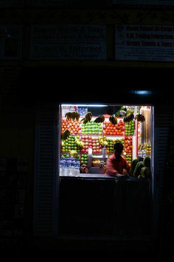 Full frame shot of glass window at night