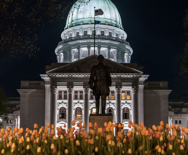 Wisconsin's state Capitol building during the night. Architecture Building Exterior Built Structure Night Illuminated Travel Destinations Building City History The Past Architectural Column Dome Plant Nature Tourism Travel Low Angle View No People Flower Flowering Plant Government Outdoors Tulips Statue Capitol Building