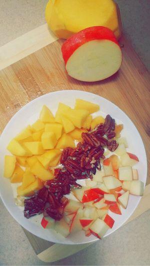 Food Breakfast FruitYogurt Healthy Eating Protein Delicious Mango Apple Walnut Honey