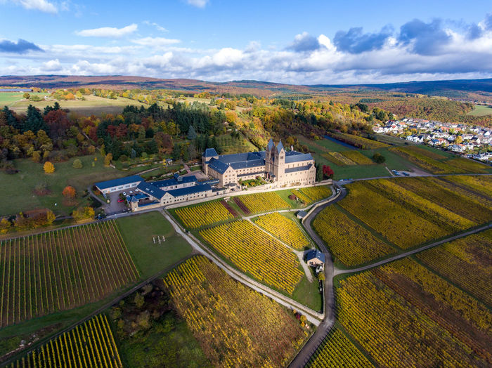 Abtei Church DJI Phantom 4 Aerial View Agriculture Architecture Beauty In Nature Built Structure Cloud - Sky Environment Field High Angle View Land Landscape Nature No People Outdoors Rural Scene Scenics - Nature Sky Tranquil Scene Tranquility Vinothek