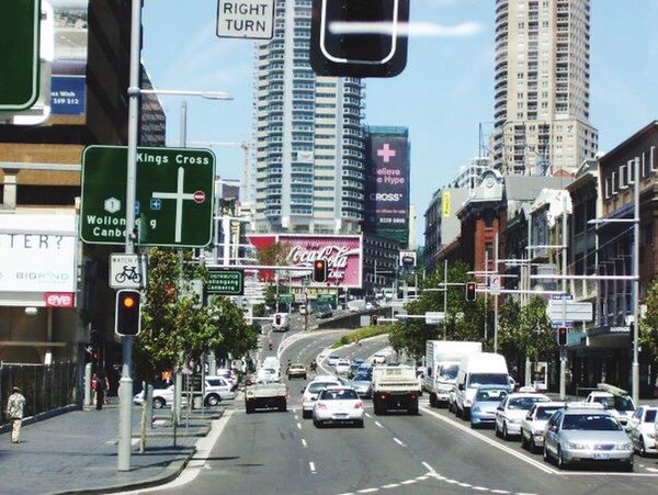 Kings Cross Sydney Midday Traffic Congestion Sunny Day Coca Cola Sign Famous World Wide
