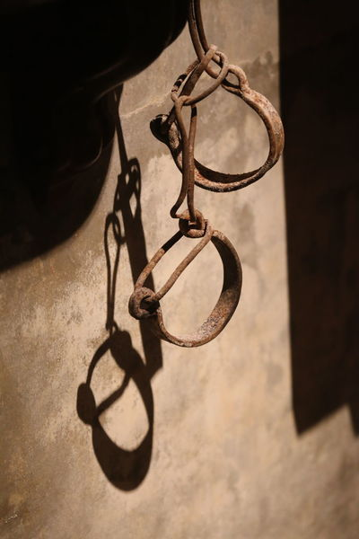 Chains Close-up Force Handcuffs  Historical Inhuman Prison Rusty Shadow Slavery Tool Of Tourture Violence