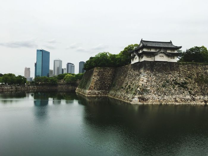 No People Sky Waterfront Water Building Exterior Built Structure Architecture Old Meets New Castle Wall Visit Osaka Historic Japan Asian Culture Travel EyeEmNewHere
