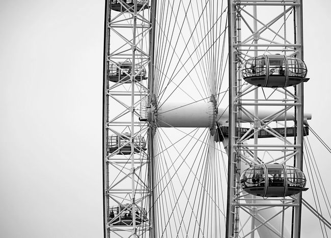 The London Eye London London Eye Architecture Black And White Built Structure Close-up Day Ferris Wheel Mast Monochrome No People Outdoors Sky Tourism