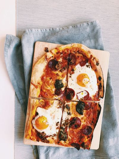 Stonebaked Pizza Et Voilà :) Breakfast Pizza Egg Pizza Indoors  Food Food And Drink No People Table High Angle View Freshness Ready-to-eat