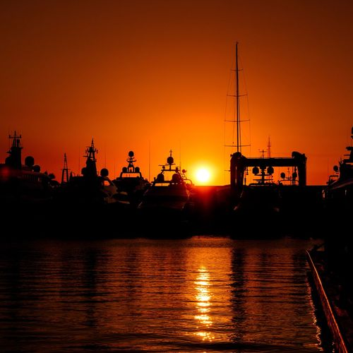 Sunset Silhouette Orange Color Water Reflection Nautical Vessel Outdoors