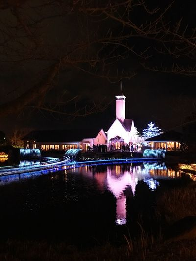 Nabana no Sato (名花の里) Nagoya Japan Place Of Attraction Garden Light Show Light Night Illuminated Architecture Building Exterior Built Structure Water Reflection Travel Destinations Outdoors