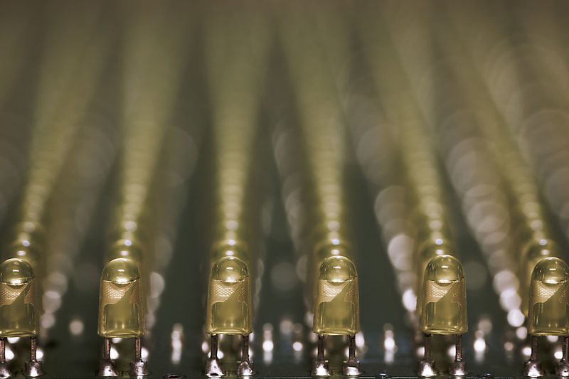 Close-up of leds in a row