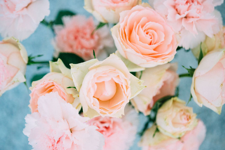 Peach coloured flowers ( carnations and roses) in a vase. Beauty In Nature Blooming Bunch Of Flowers Carnation Close-up Decoration Detail Deutschland Flower Flower Head Flowers Fragility Freshness Growth München Nature Peach Color Petal Pink Color Plant Romance Rose - Flower Rosé Simplicity Soft