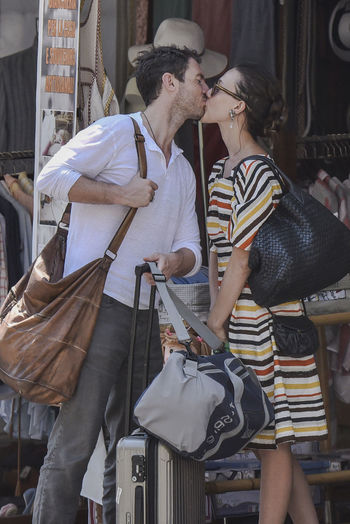 The actress Gabriella Pession and her husband, the actor Richard Flood, in Portofino - Summer 2016 Actor Actress Backgrounds Car Casual Clothing Celebrities Celebrity Celebrity Sighting Couple Day Gabriella Pession Happiness Italy Kisses Outdoor Photography Outdoors Person Portofino Richard Flood Sunglasses Togetherness Vip Young Adult