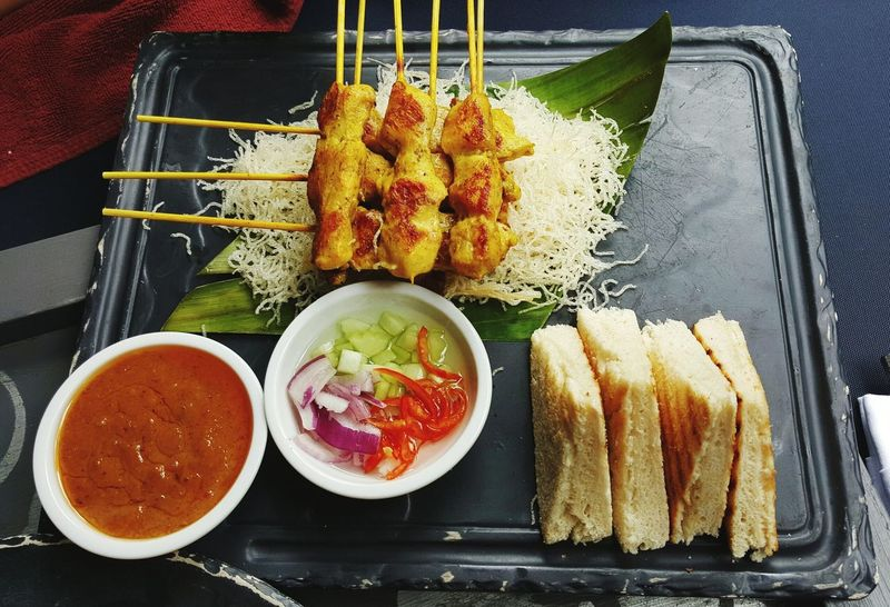 Freshness Food And Drink Food No People Ready-to-eat Plate Indoors  Healthy Eating Bowl Close-up Day Visual Feast Satay Sataychicken