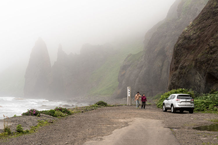Fog Nature Mountain Water Weather Environment Wet Car People Beauty In Nature Outdoors Adventure Travel Destinations Vacations Waterfall Scenics Foggy Rebun Island Hokkaido Japan Lost In The Landscape