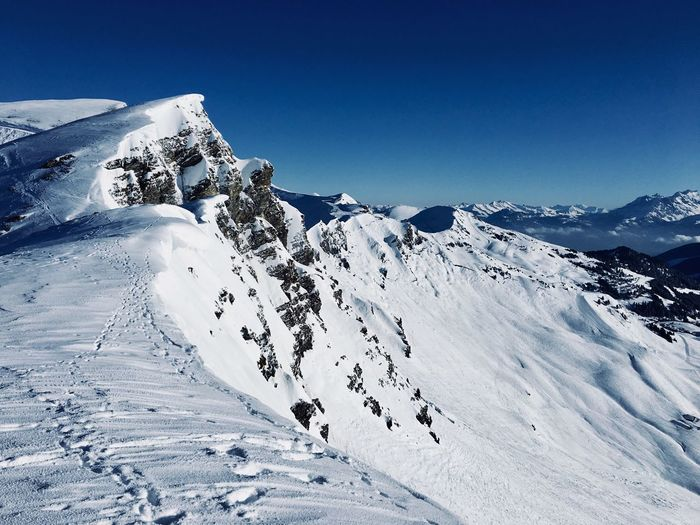 Swiss Wall Switzerland Snow Winter Cold Temperature Beauty In Nature Nature Scenics Snowcapped Mountain Mountain Sky Clear Sky Mountain Range Day Outdoors Frozen