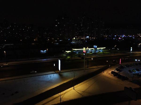 Night Nightphotography Macdonalds Macdonald's Gas Station Snow