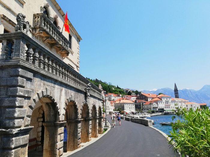 Balkans Balkans Europe Montenegro Kotor Bay Cityview EyeEm Selects Politics And Government City Clear Sky Patriotism Clock Face Flag Blue History