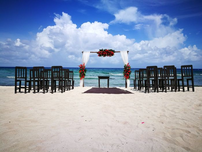 Flower Arrangement Beauty In Nature No People Nature Private Beach Wedding Caribbean Sea Sun Sunlight Tranquility Mayan Riviera Water Beach Sand Sky Cloud - Sky Summer Horizon Over Water Sea Day Nature Outdoors Beach Ceremony