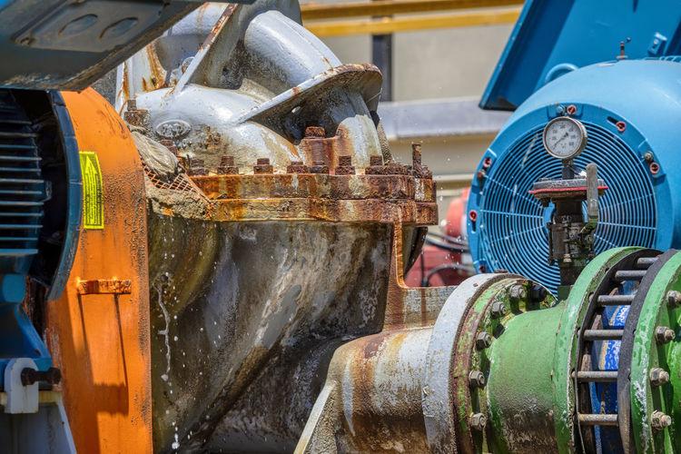 Close-up of machinery at factory