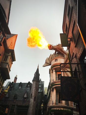 Dragon Dragon Fire Universal Studios  Orlando Gringotts Harry Potter Architecture Building Exterior Built Structure Low Angle View Smoke - Physical Structure No People