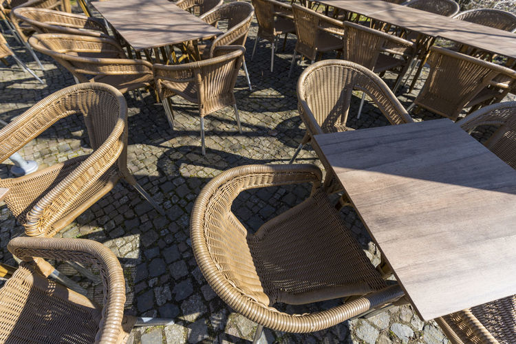 High angle view of damaged chairs in basket