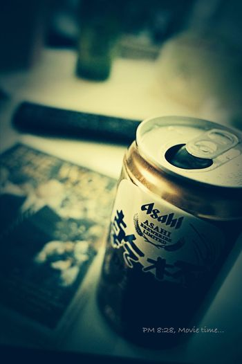 PM 8:28 is Home movie time, The Wolf of Wall Street & Asahi Beer... MOVIE Asahi Ricoh Gr Relax