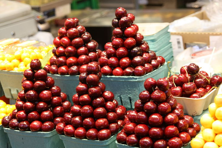 Cherries for sale at market stall