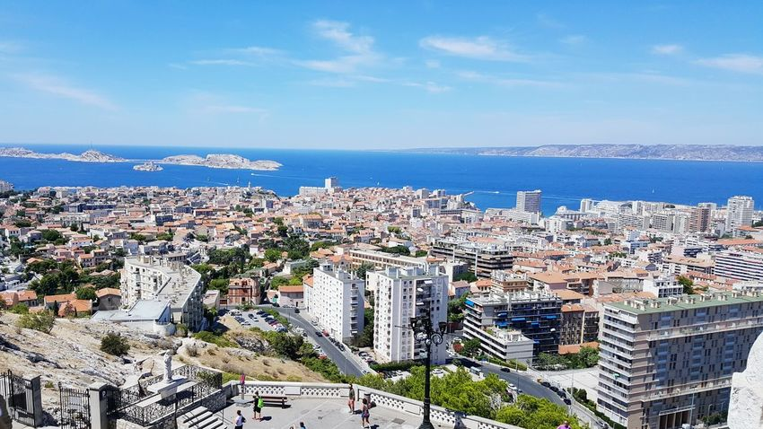 Sea View Cityscape Ocean Blue City Life Tourism Landscape Sky Outdoors France Marseille No People Travel Destinations Goodlife Tranquility Calm Seascape Non-urban Scene