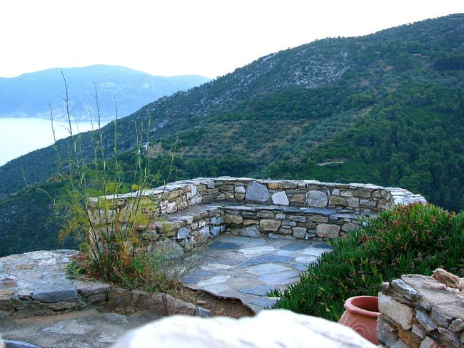 Viewpoint Viewpoints Alonnisos Island Greek Islands Mountains Sea Mountains And Sea Weeds Stone Bench Landscapes