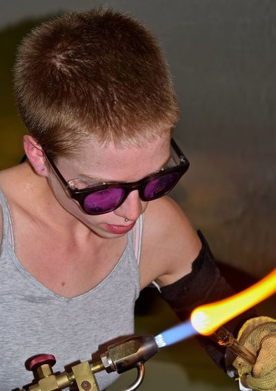 Close-Up Of Manual Worker Holding Welding Torch