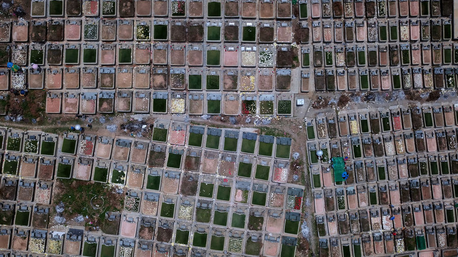 Full frame shot of cemetery in city