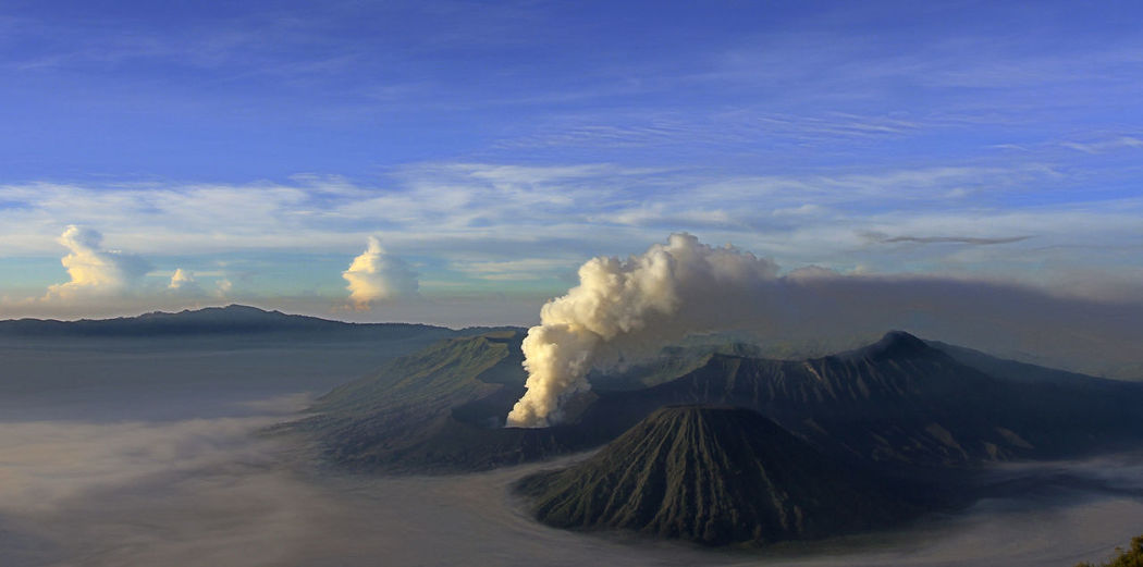 Mount bromo, indonesia, panoramic view of volcanic landscape against sky