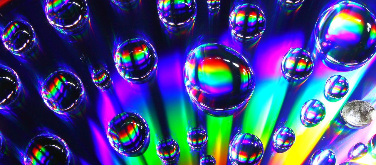 full frame, multi colored, backgrounds, large group of objects, no people, pattern, shiny, nightlife, indoors, close-up, blue, nightclub, illuminated, night