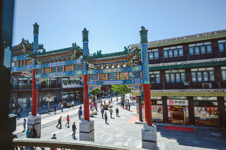 QianMen street, Beijing Architecture Building Exterior Chinatown City Cityscape Clear Sky Colors Cultures Day Non-western Script Outdoors People Pub Qianmen Sky Tourism Tourist Travel Travel Destinations Traveling Urban Skyline Miles Away