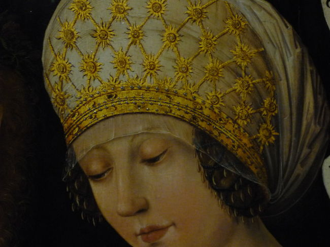 Gotha Museum Paar Liebespaar Couple Painting Painted Image Gothaer Liebespaar Hausbuchmeister Portrait Portrait Of A Woman Porträt Bildnis Doppelbildnis Haube Gold Renaissance Malerei One Woman Only Only Women One Person Adult Adults Only Beauty Gold Colored