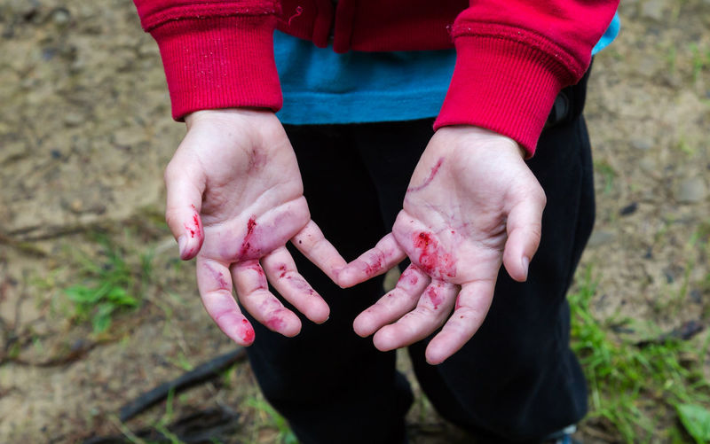 Close-up of dirty hands of boy