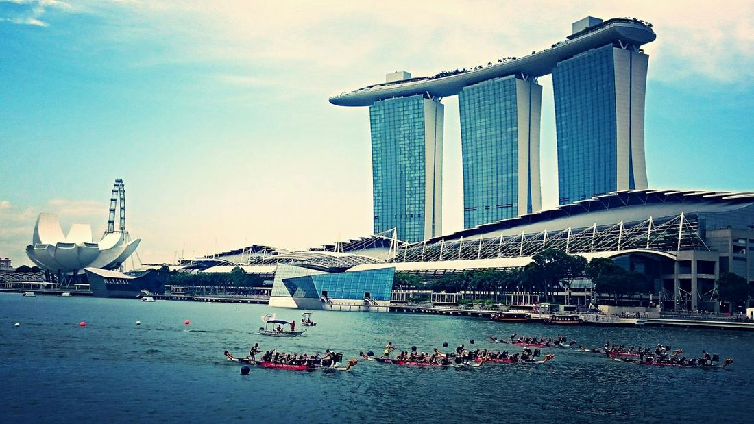 At the DBS Marina Regatta. Regatta Dragonboat Dragon Boat Race Dragon Boats Marina Bay Marina Bay Sands Boating Dragonboatraces Bay My Country In A Photo