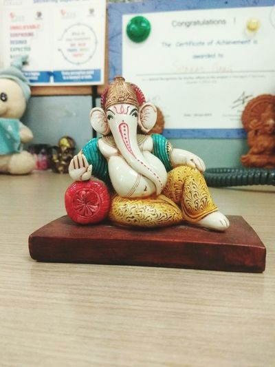 Human Representation Sculpture Indoors  No People Arts Culture And Entertainment Clown Doll Statue Close-up Day Ganesha Lord Ganesh🙏😀 Lucky Charms ❤ Good Luck