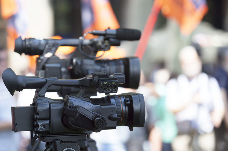 Close-Up Of Television Cameras On Tripod